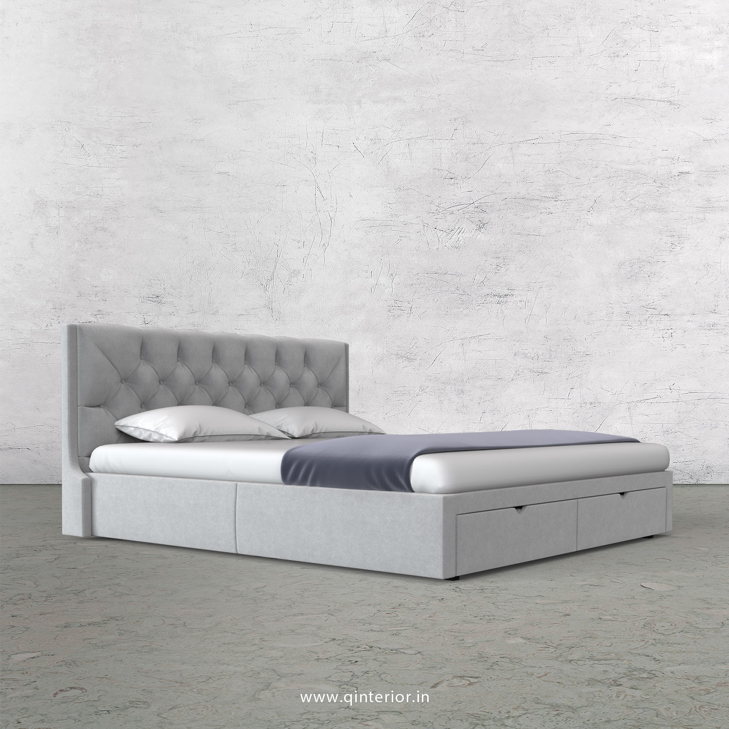 Scorpius Queen Storage Bed in Velvet Fabric - QBD001 VL06
