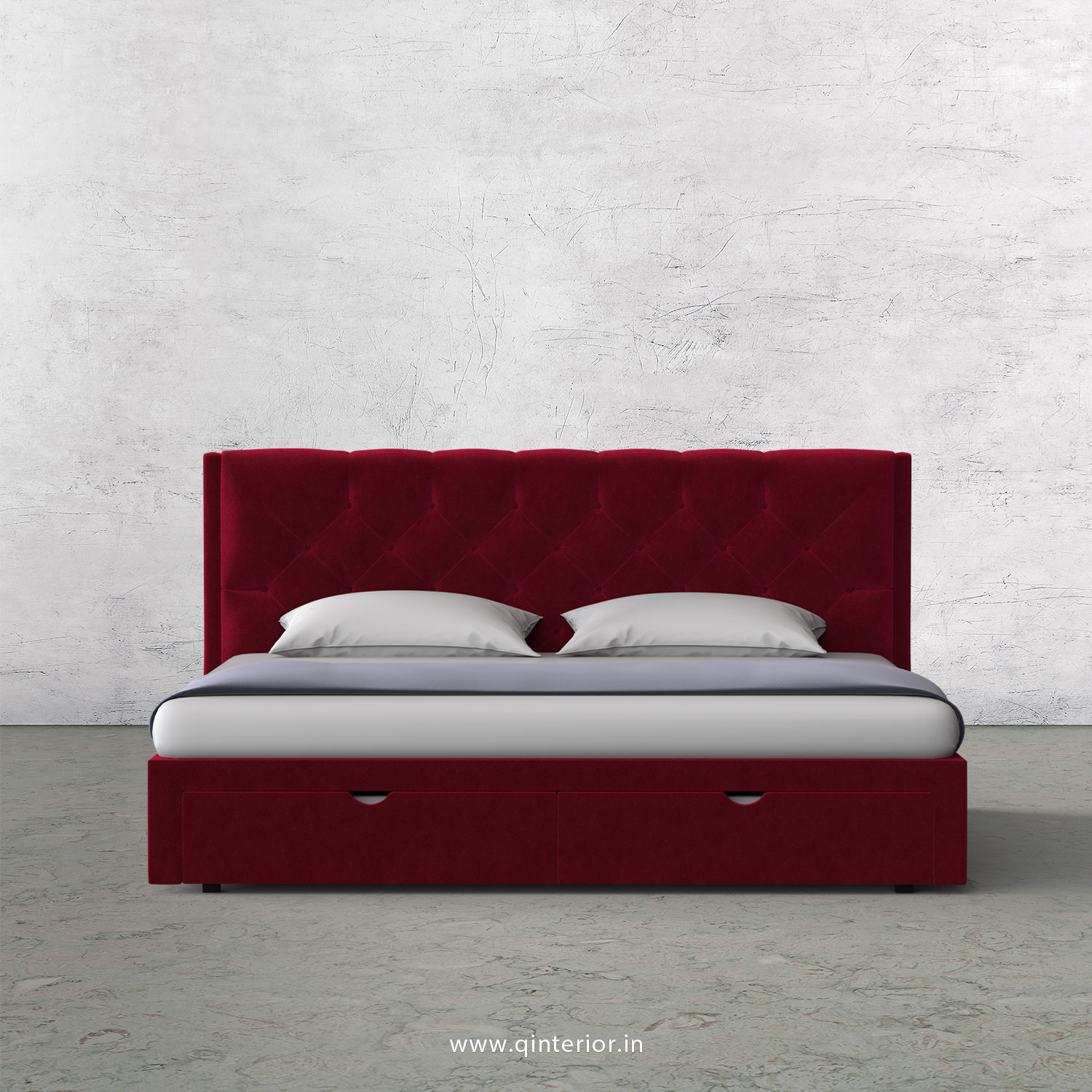 Scorpius King Size Storage Bed in Velvet Fabric - KBD001 VL08