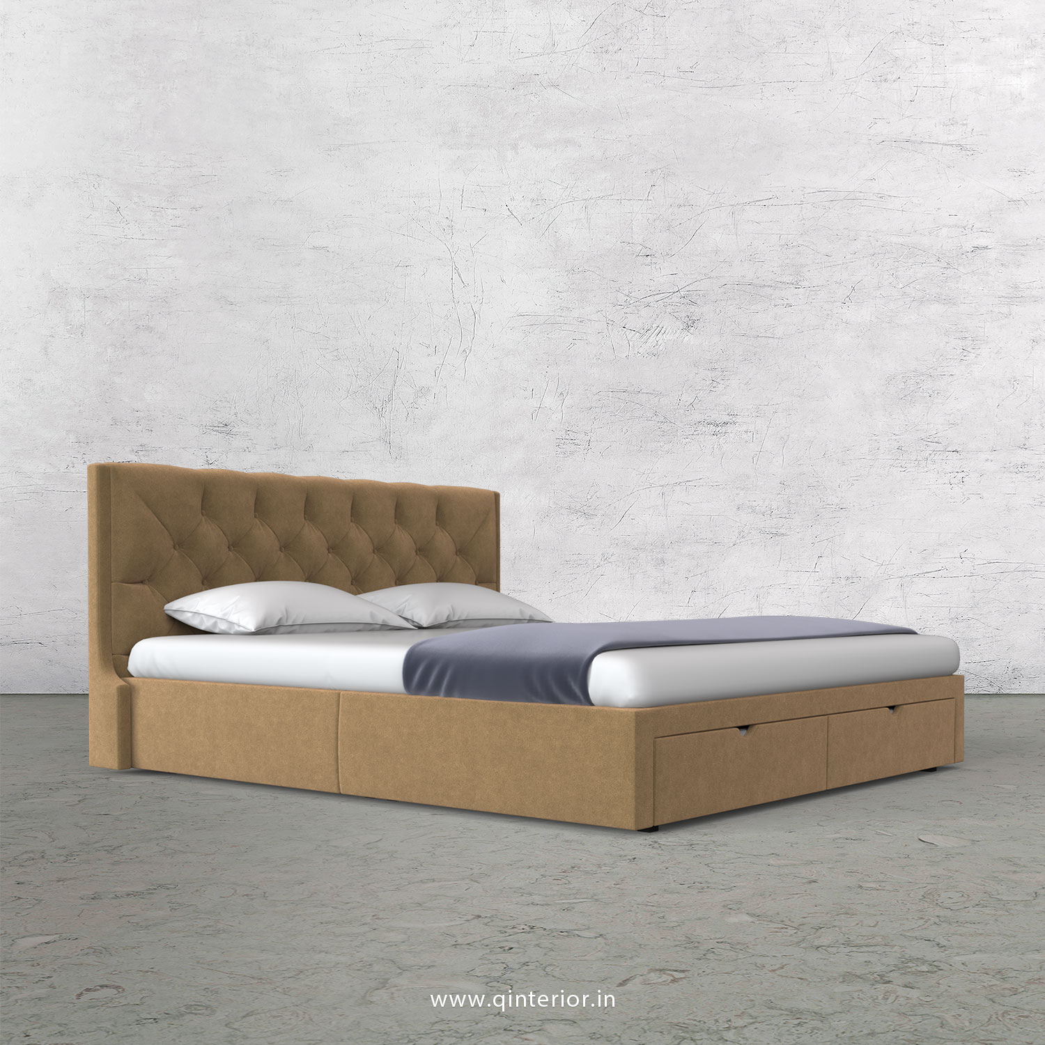 Scorpius King Size Storage Bed in Velvet Fabric - KBD001 VL09