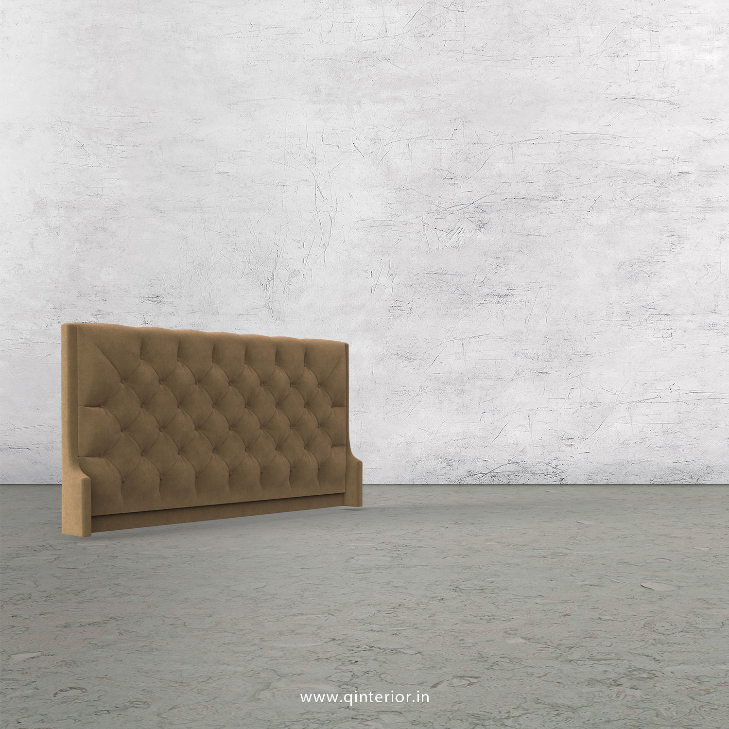 Scorpius Bed Headboard In Velvet Fabric Bhb002 Vl09 In Walnut Brown Color By Q Interior