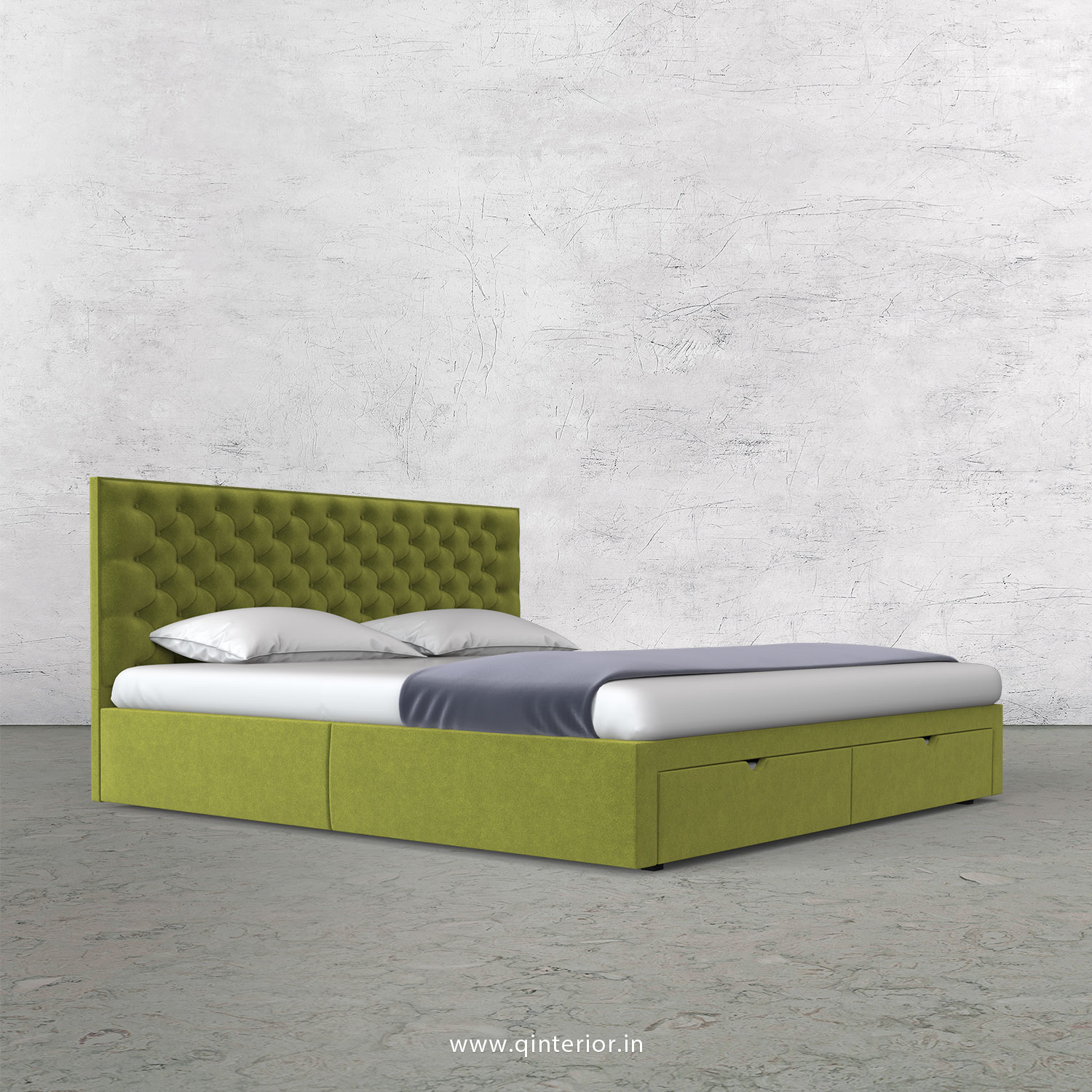 Orion Queen Storage Bed in Velvet Fabric - QBD001 VL10