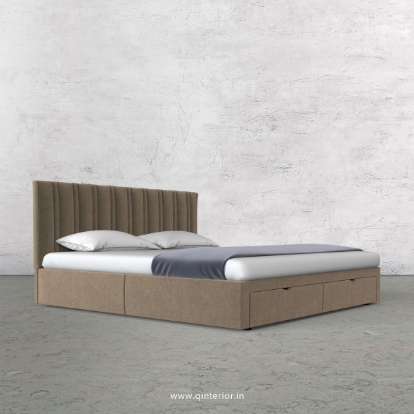 Leo King Size Storage Bed in Velvet Fabric - KBD001 VL11
