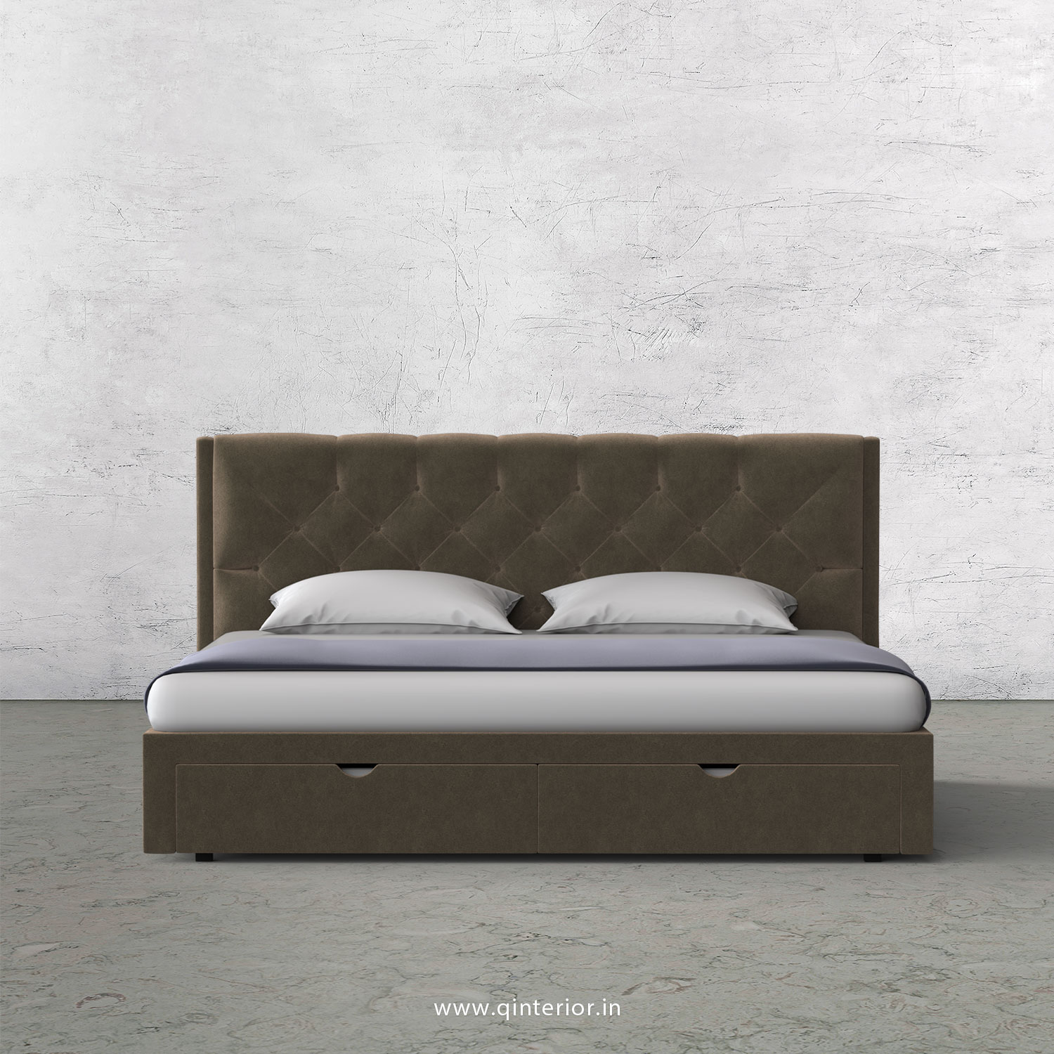 Scorpius King Size Storage Bed in Velvet Fabric - KBD001 VL11