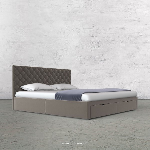 Aquila King Size Storage Bed in Velvet Fabric- KBD001 VL12