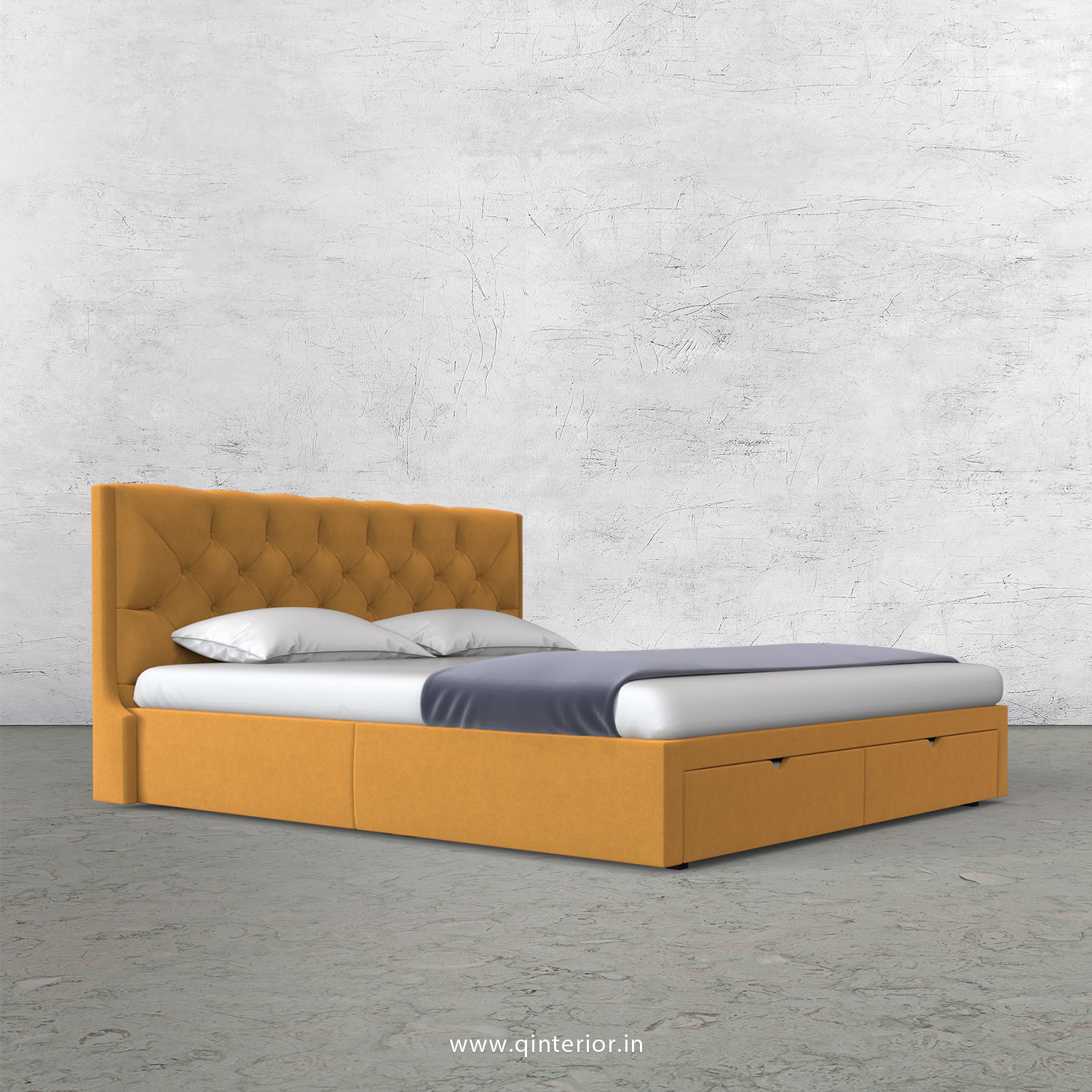 Scorpius Queen Storage Bed in Velvet Fabric - QBD001 VL18