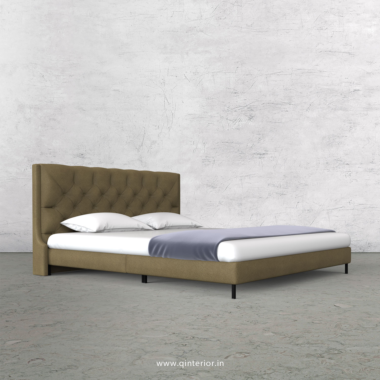 Scorpius King Size Bed in Fab Leather Fabric - KBD003 FL01
