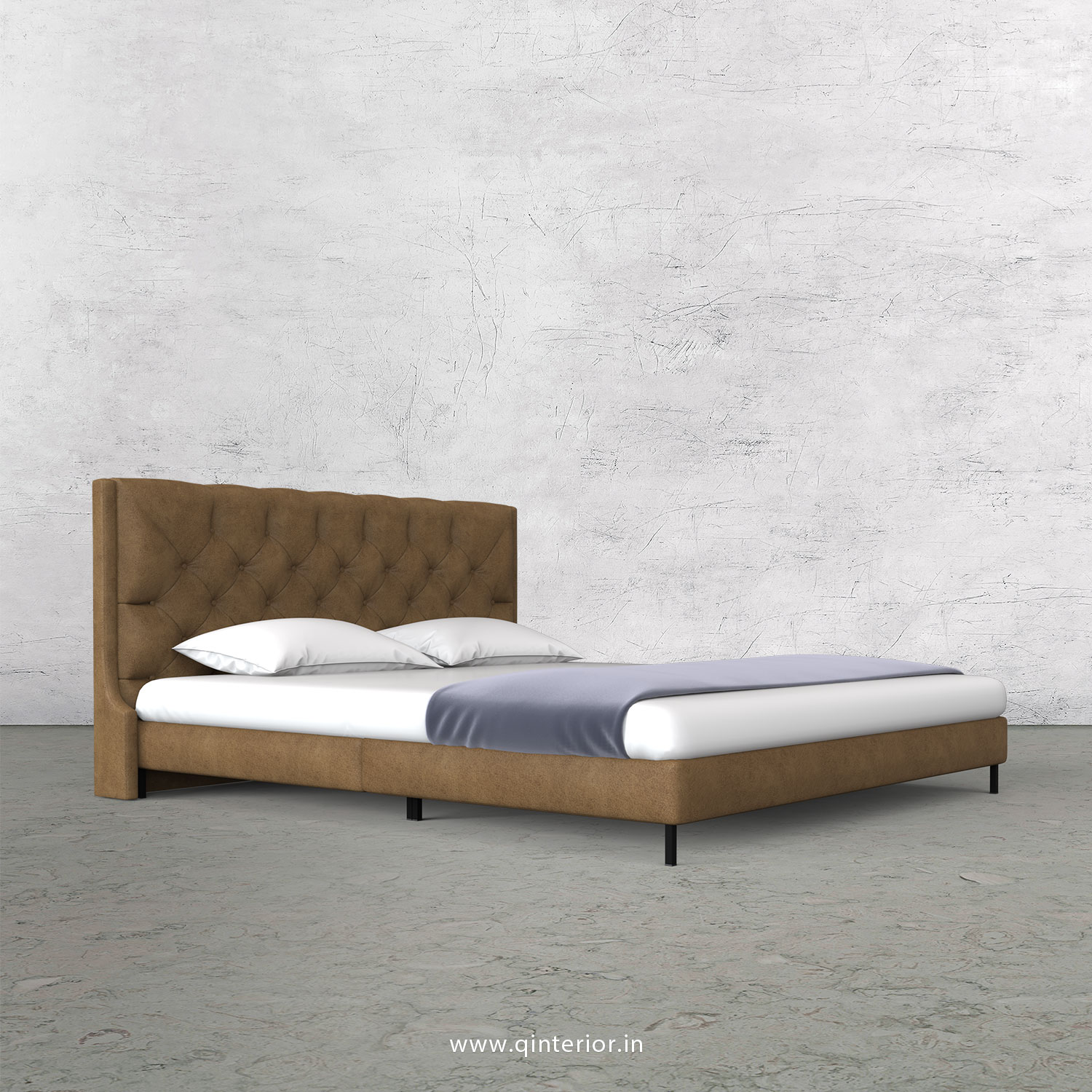 Scorpius King Size Bed in Fab Leather Fabric - KBD003 FL02