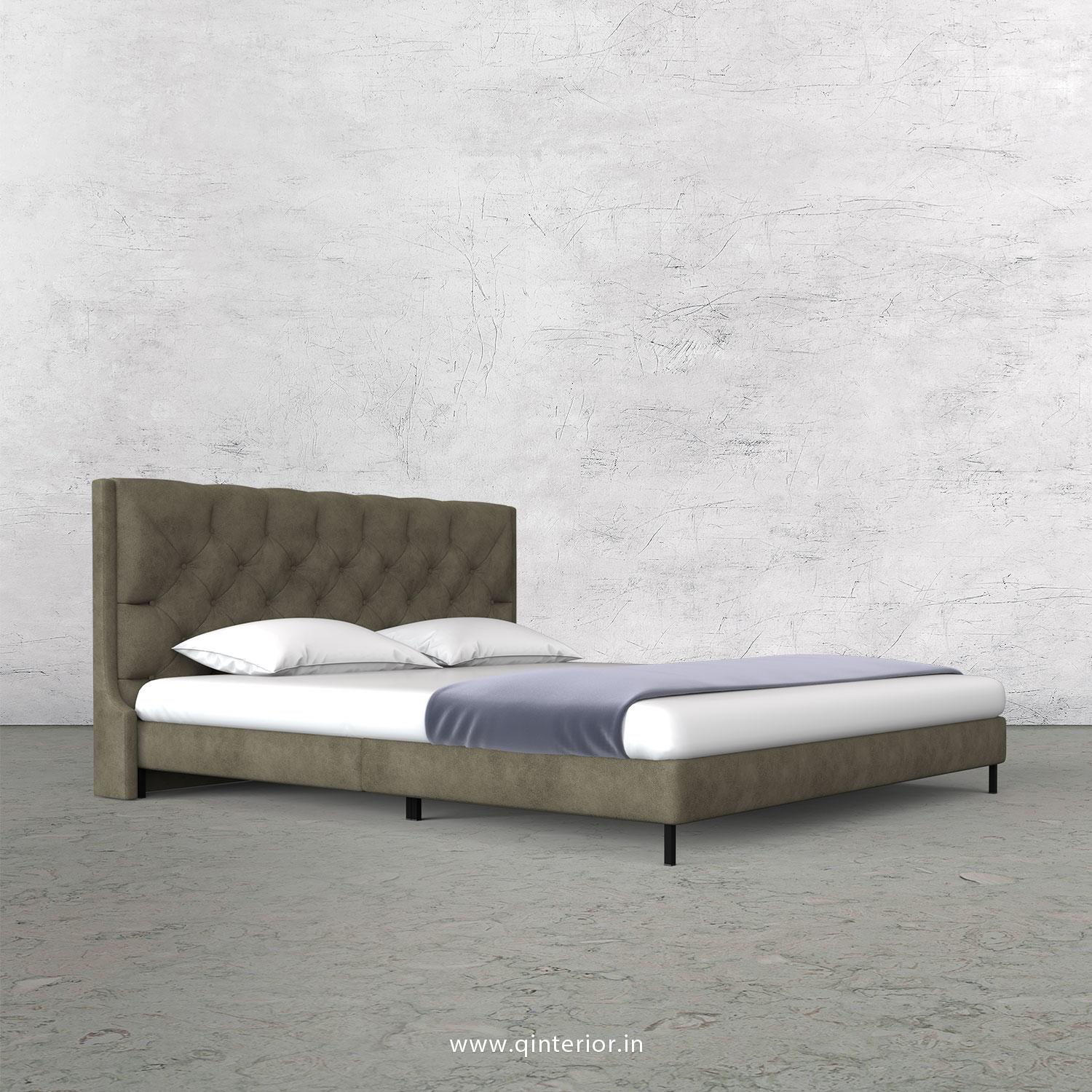 Scorpius Queen Size Bed with Fab Leather Fabric - QBD003 FL03