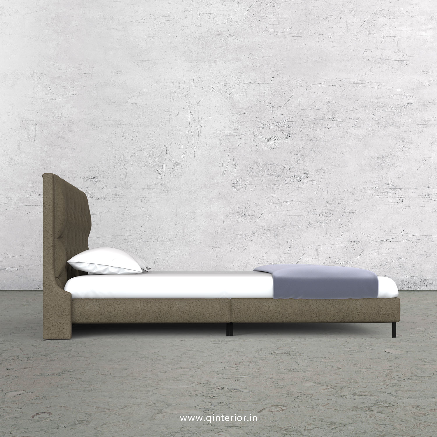 Scorpius King Size Bed in Fab Leather Fabric - KBD003 FL06