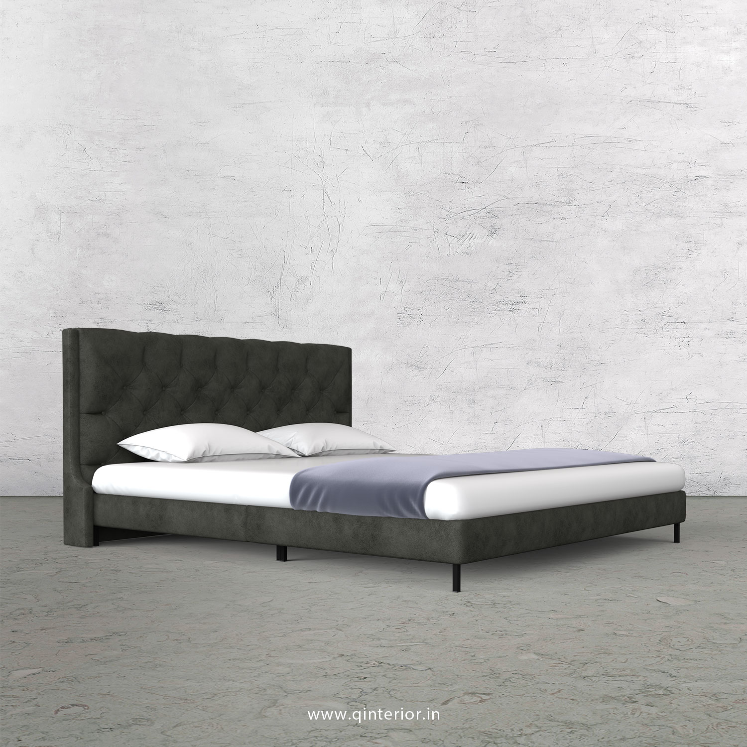 Scorpius King Size Bed in Fab Leather Fabric - KBD003 FL07