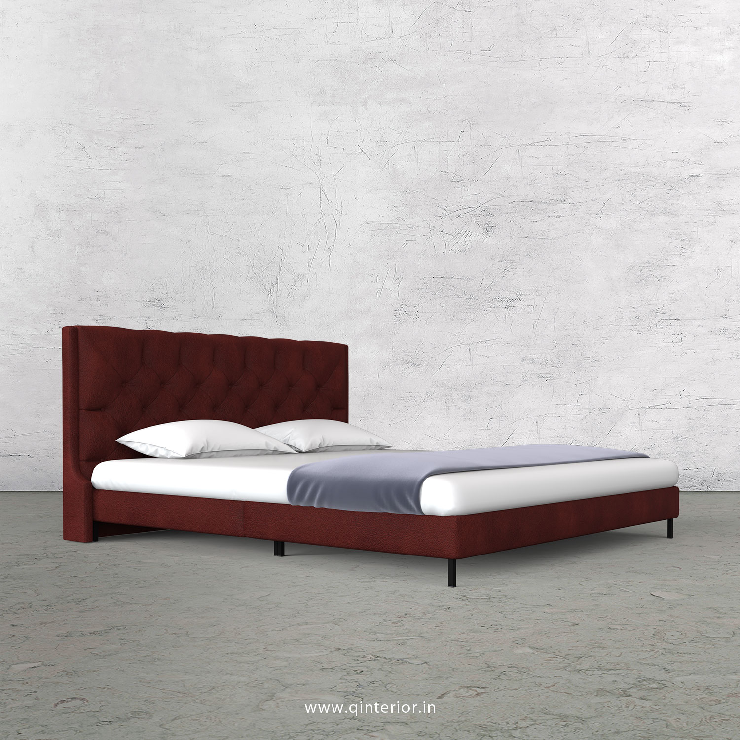 Scorpius King Size Bed in Fab Leather Fabric - KBD003 FL08