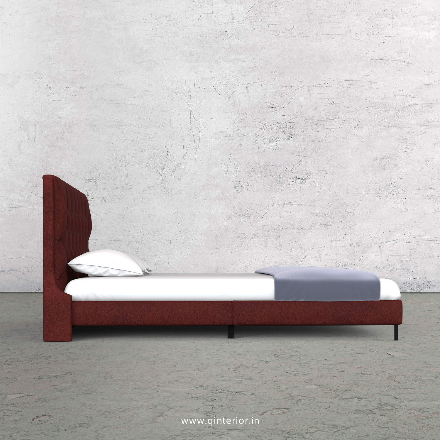 Scorpius Queen Size Bed with Fab Leather Fabric - QBD003 FL08