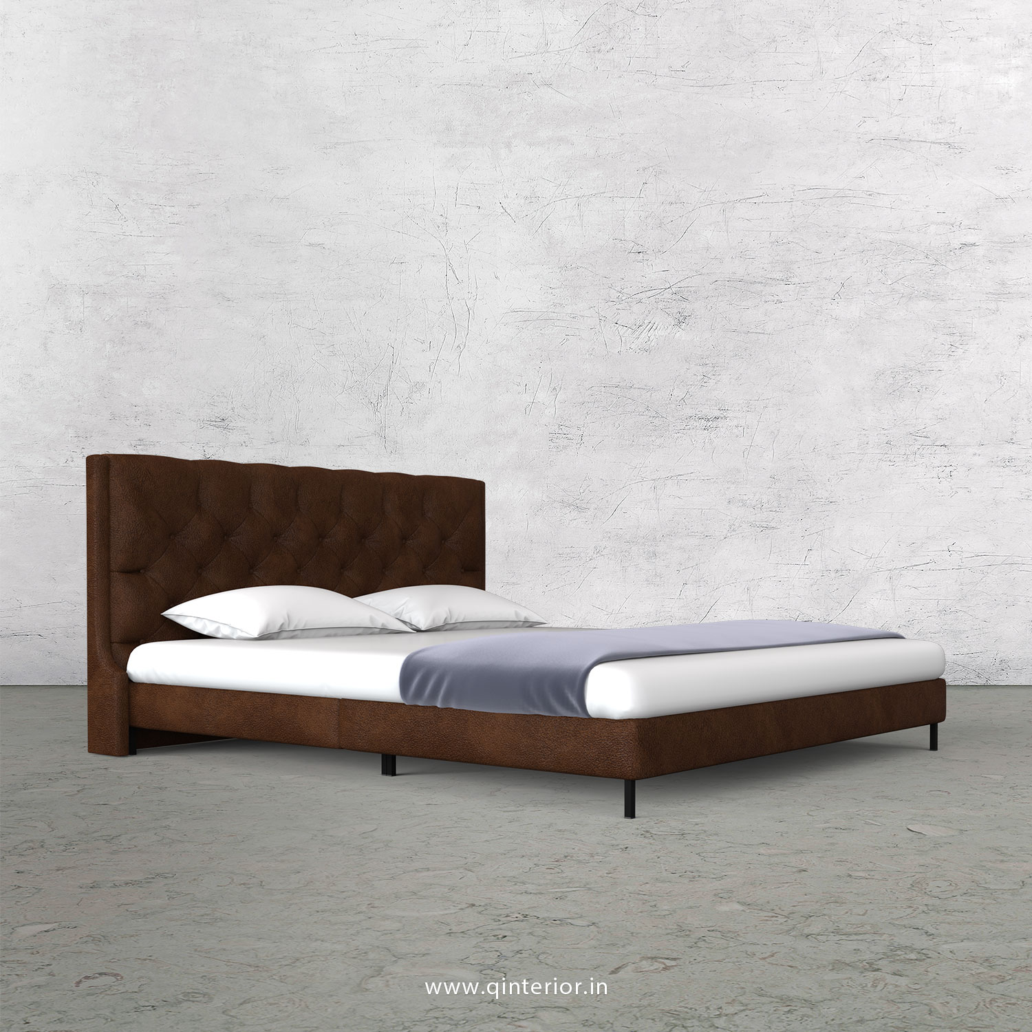 Scorpius Queen Size Bed with Fab Leather Fabric - QBD003 FL09