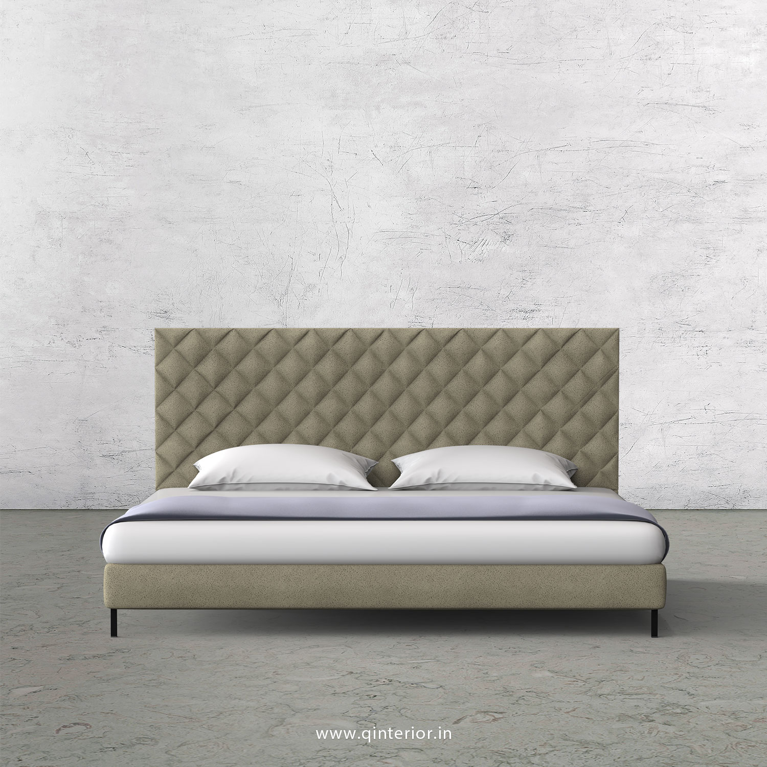 Aquila Queen Size Bed With Fab Leather Fabric Qbd003 Fl10 In Off White Color By Q Interior