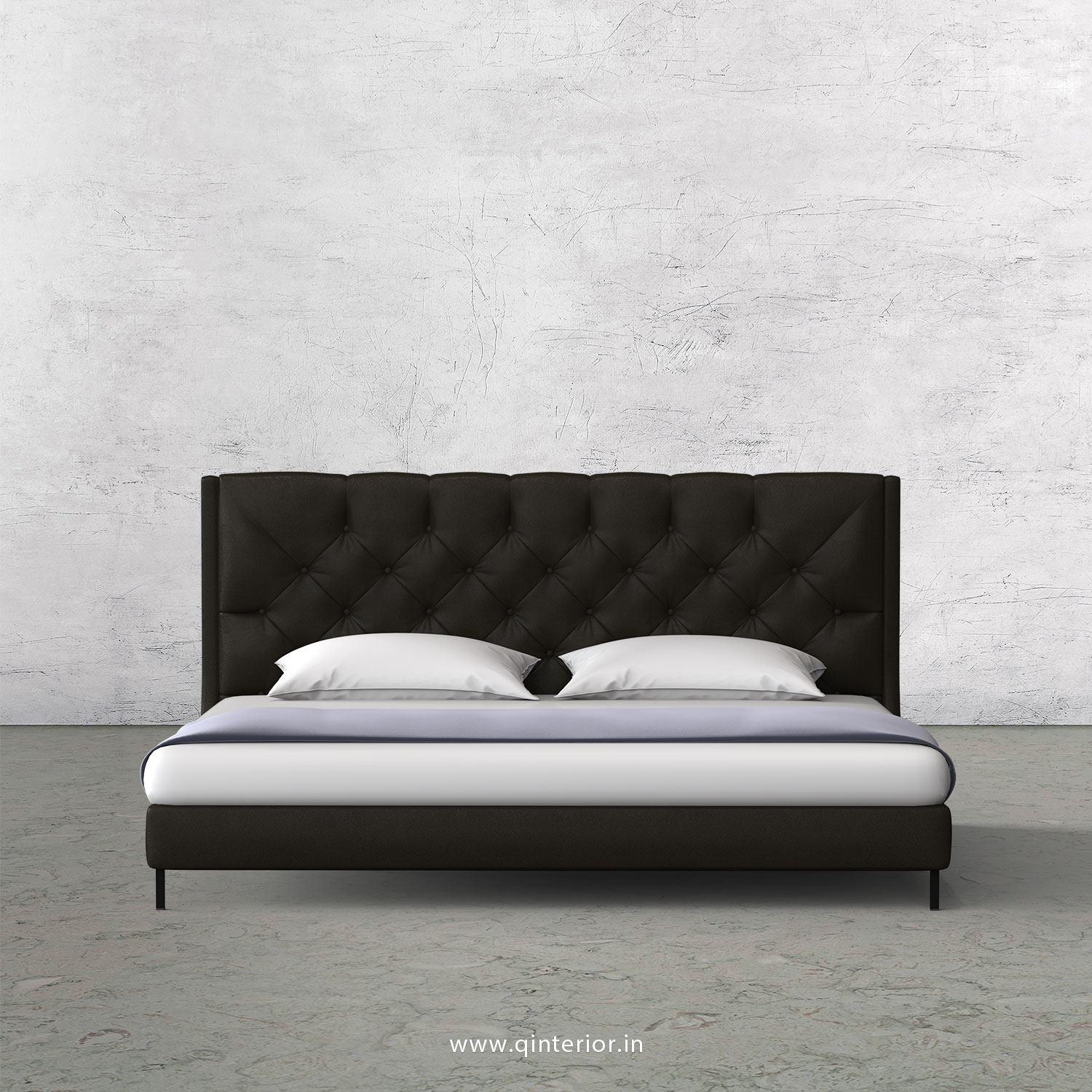 Scorpius Queen Size Bed with Fab Leather Fabric - QBD003 FL11