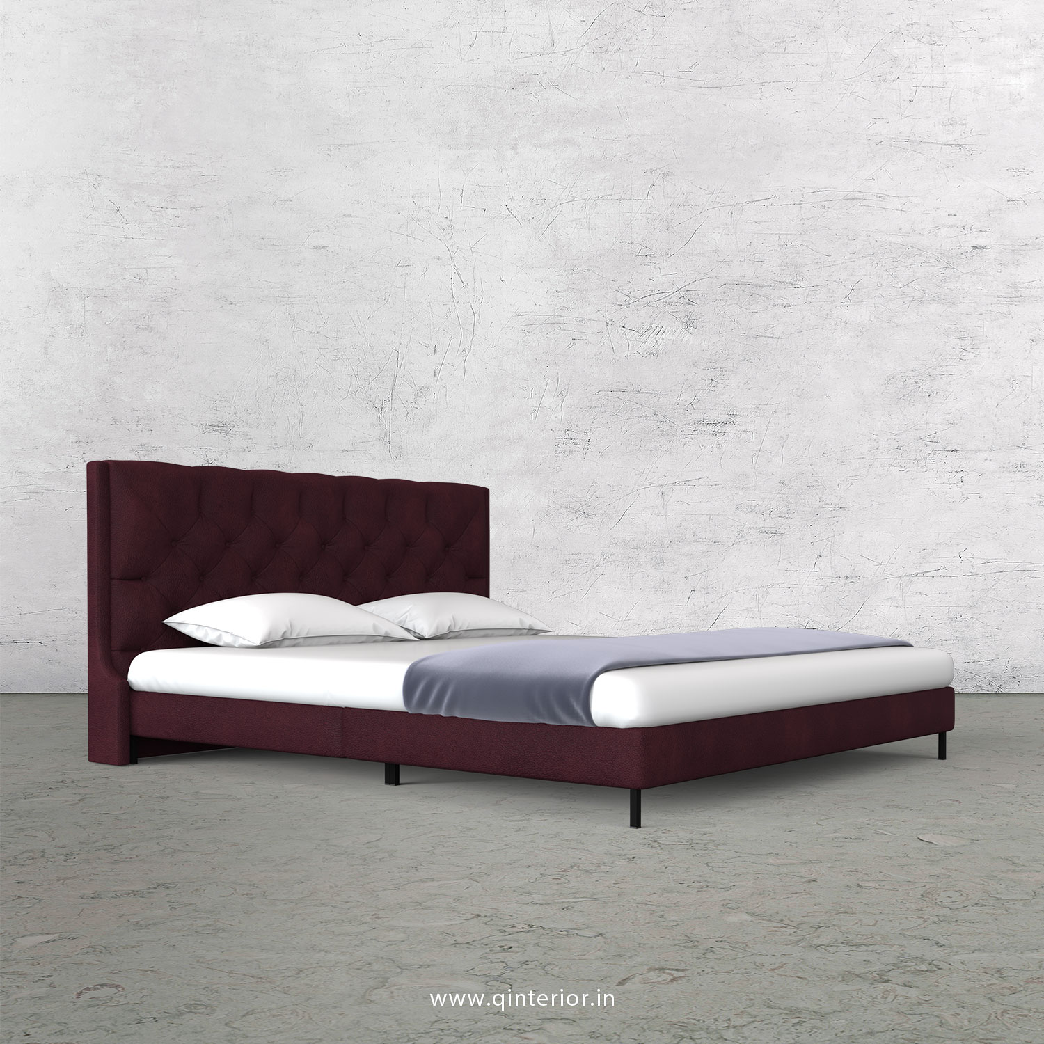 Scorpius King Size Bed in Fab Leather Fabric - KBD003 FL12