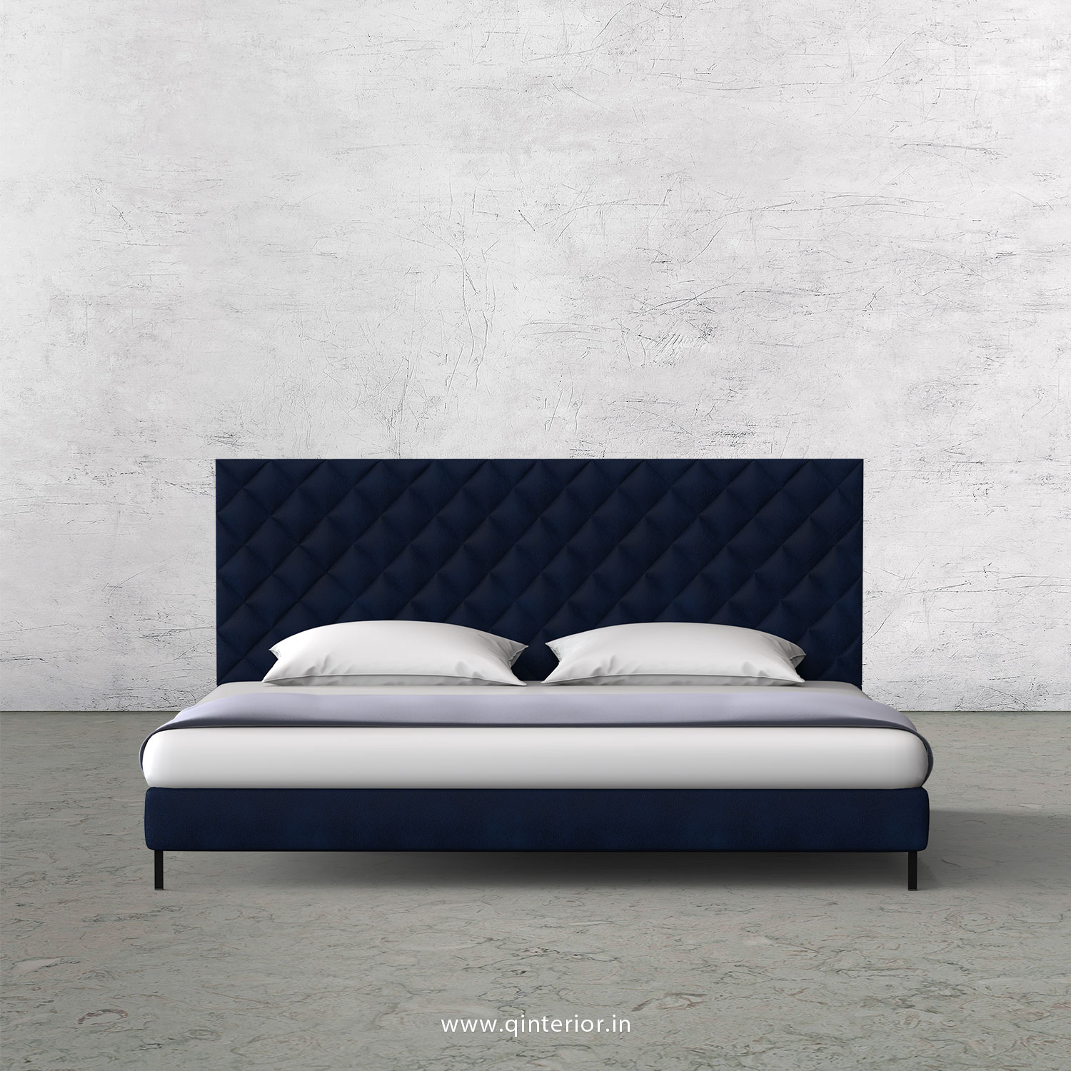 Aquila Queen Size Bed With Fab Leather Fabric Qbd003 Fl13 In Indigo Color By Q Interior