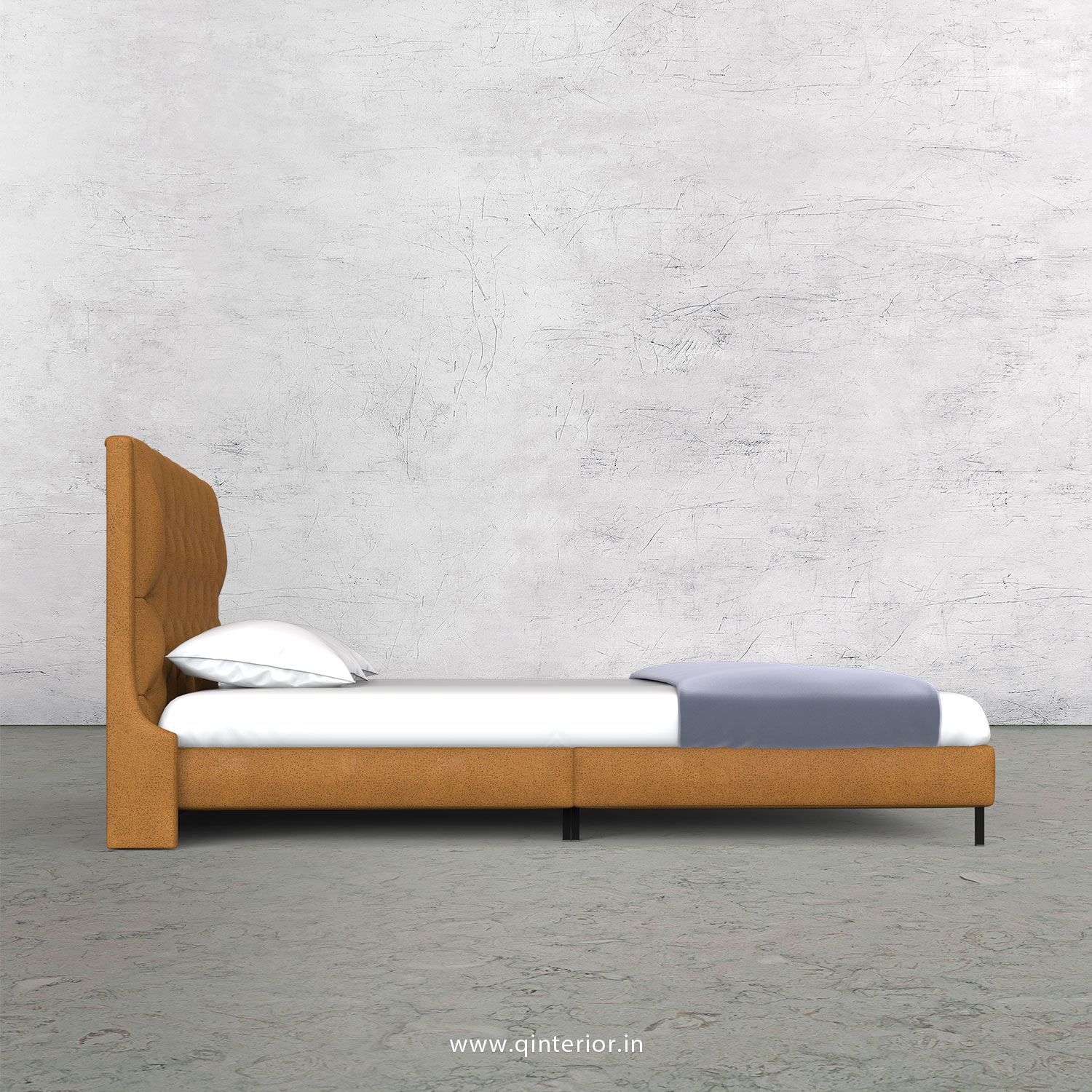 Scorpius King Size Bed in Fab Leather Fabric - KBD003 FL14