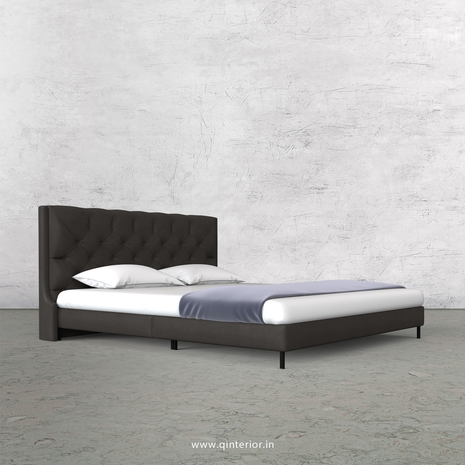 Scorpius King Size Bed in Fab Leather Fabric - KBD003 FL15
