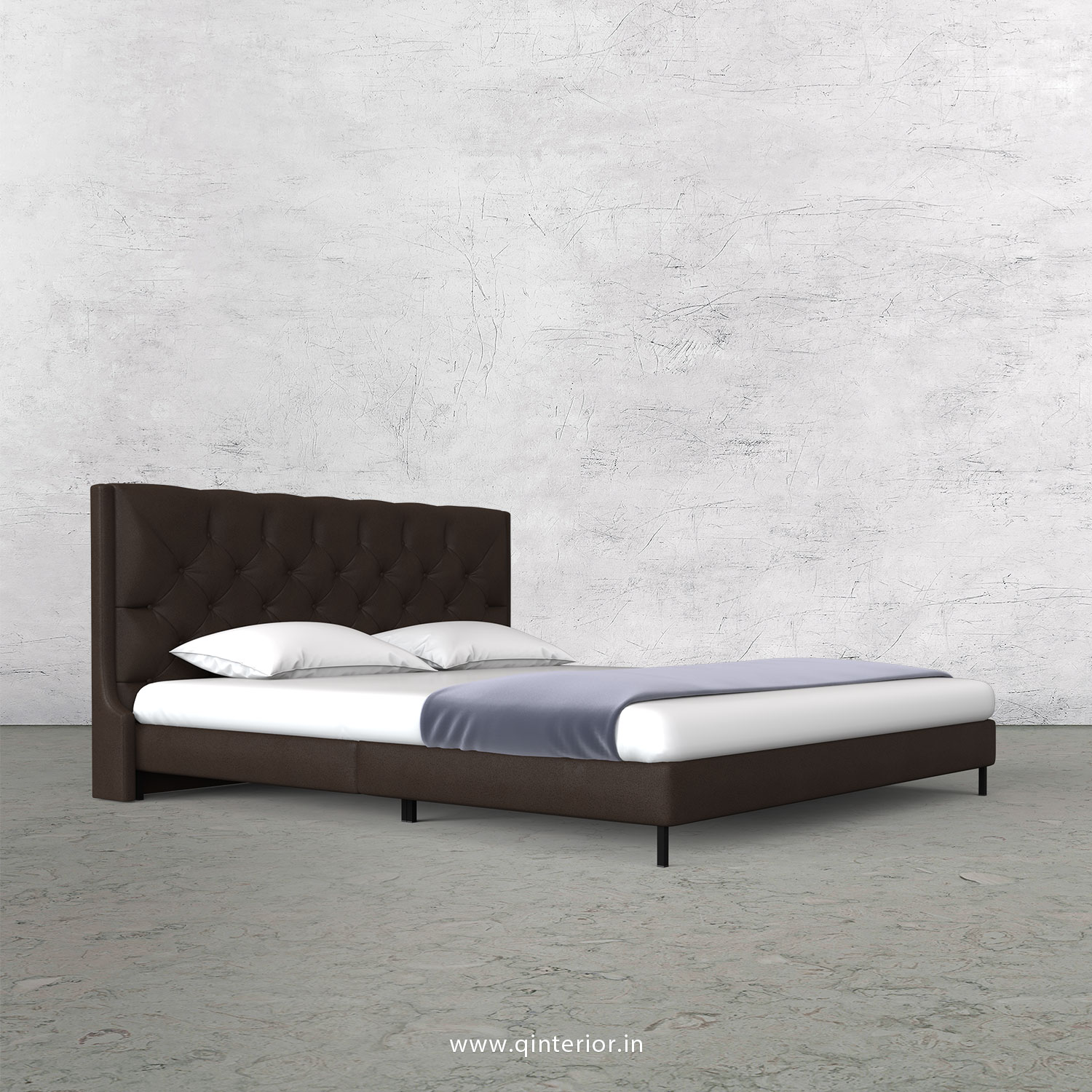 Scorpius Queen Size Bed with Fab Leather Fabric - QBD003 FL16