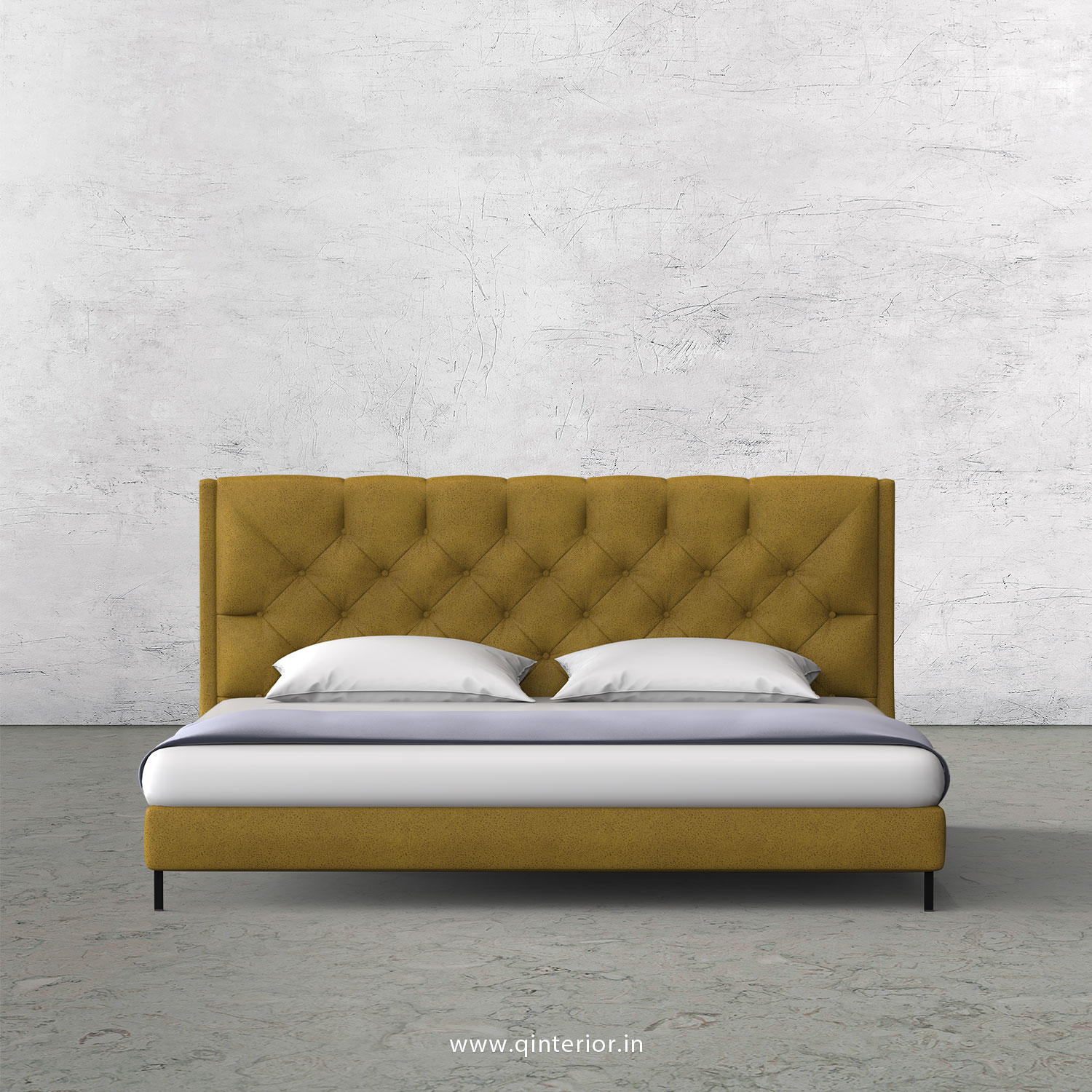 Scorpius King Size Bed in Fab Leather Fabric - KBD003 FL18