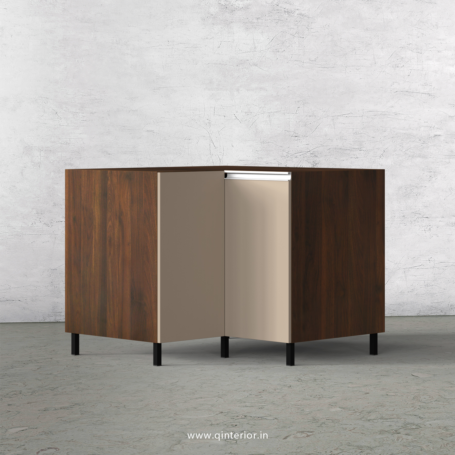 Lambent Kitchen Base Corner Unit in Walnut and Cappuccino Finish - KBB808 C13