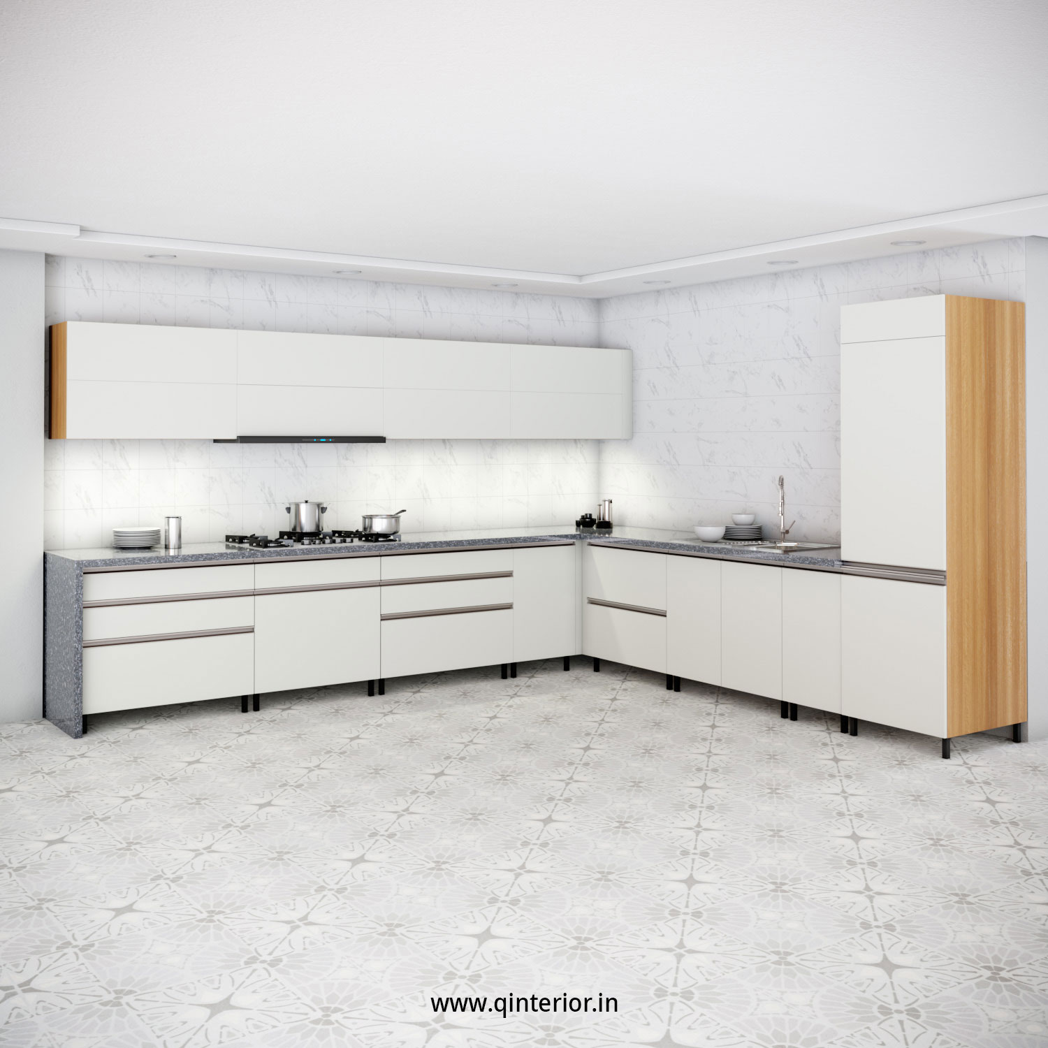 L Shape Kitchen in Oak and Pale Grey Finish - KTL001