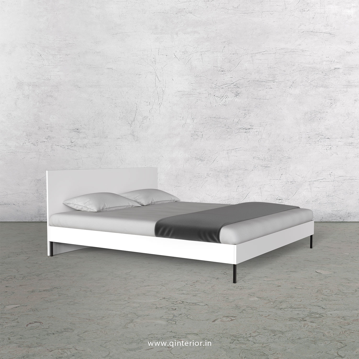 Stable Queen Size Bed in White Finish - QBD105 C4