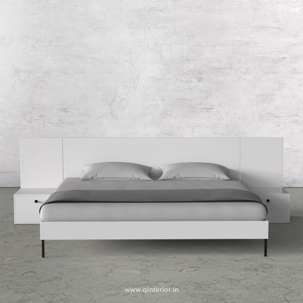 Stable King Size Bed with Side Tables in White Finish - KBD103 C4