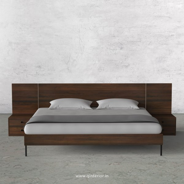 Stable King Size Bed with Side Tables in Walnut Finish - KBD104 C1