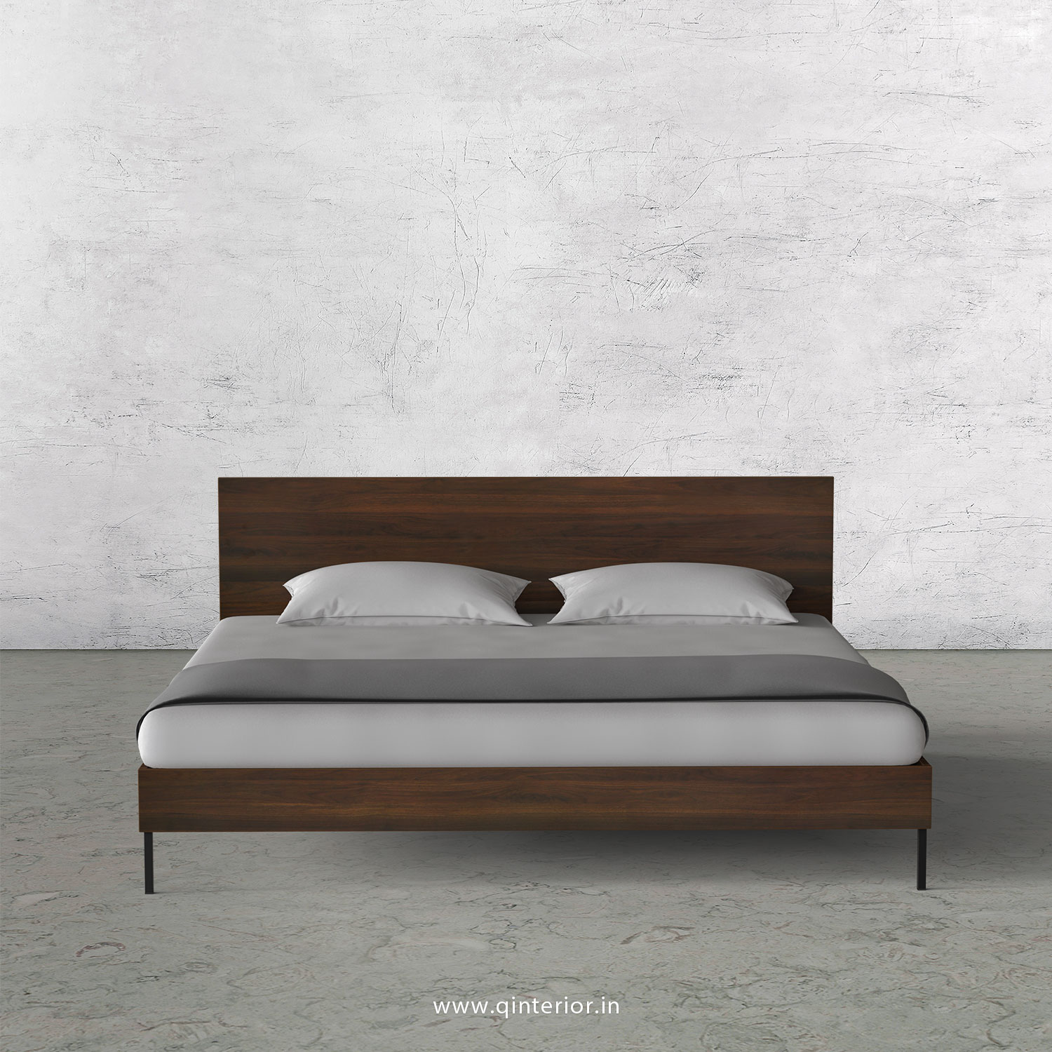 Stable King Size Bed in Walnut Finish - KBD105 C1