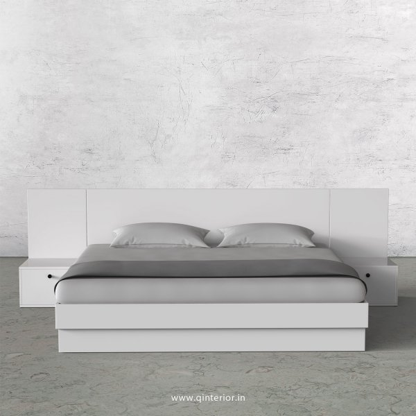 Stable King Size Storage Bed with Side Tables in White Finish - KBD101 C4