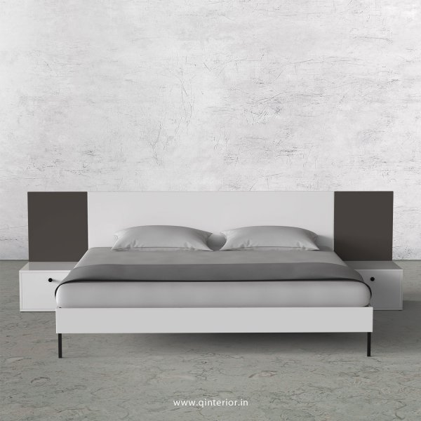 Lambent King Size Bed with Side Tables in White and Slate Finish - KBD103 C16