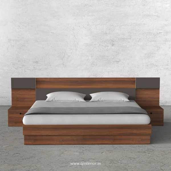 Lambent Queen Size Storage Bed with Side Tables in Teak and Slate Finish - QBD108 C15