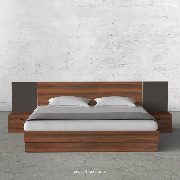 Lambent King Size Storage Bed with Side Tables in Teak and Slate Finish - KBD101 C15