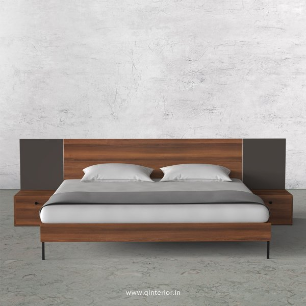 Lambent King Size Bed with Side Tables in Teak and Slate Finish - KBD103 C15