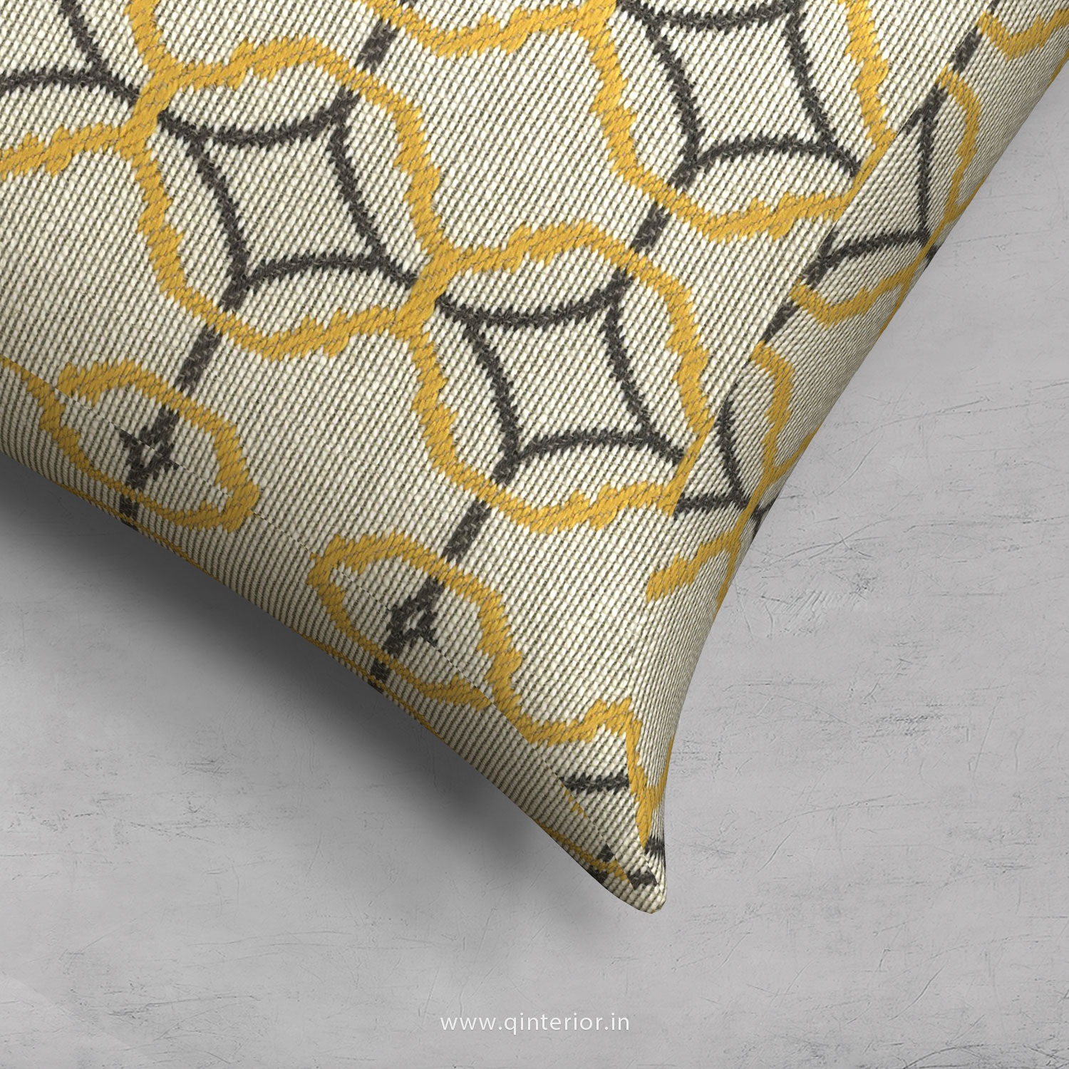 Yellow Jaquard Cushion With Cushion Cover - CUS001 JQ
