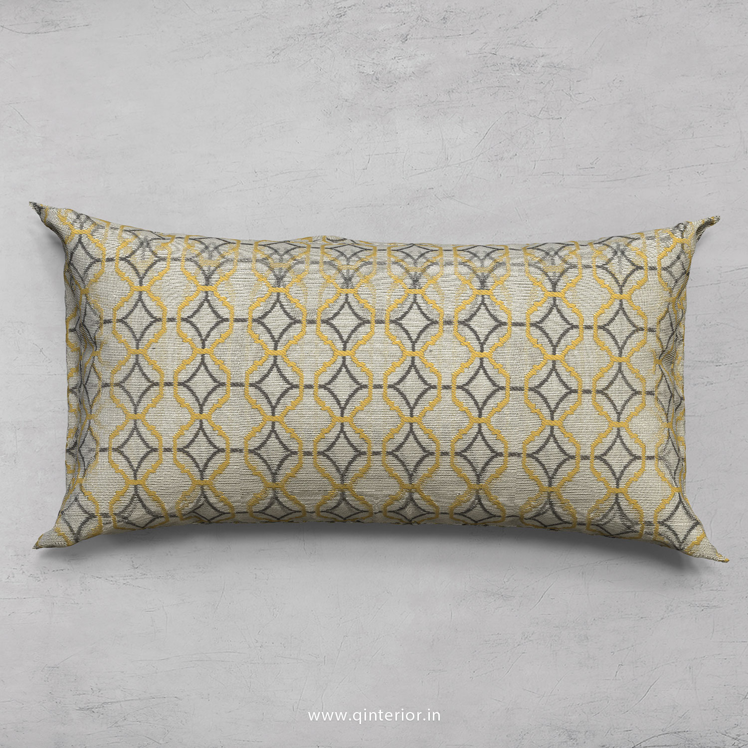 Yellow Jaquard Cushion With Cushion Cover - CUS002 JQ