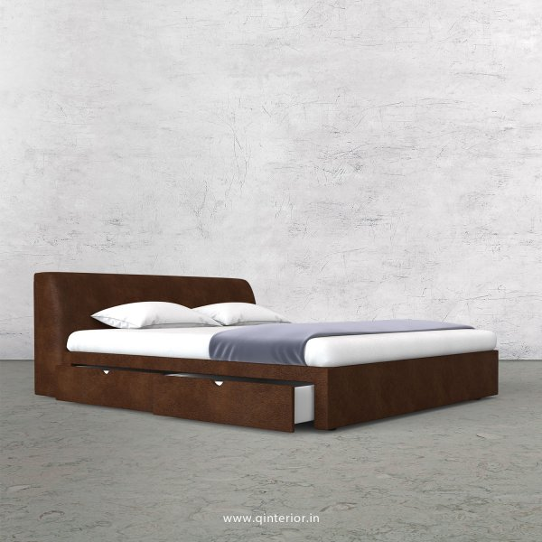 Luxura King Size Storage Bed in Fab Leather Fabric - KBD007 FL09