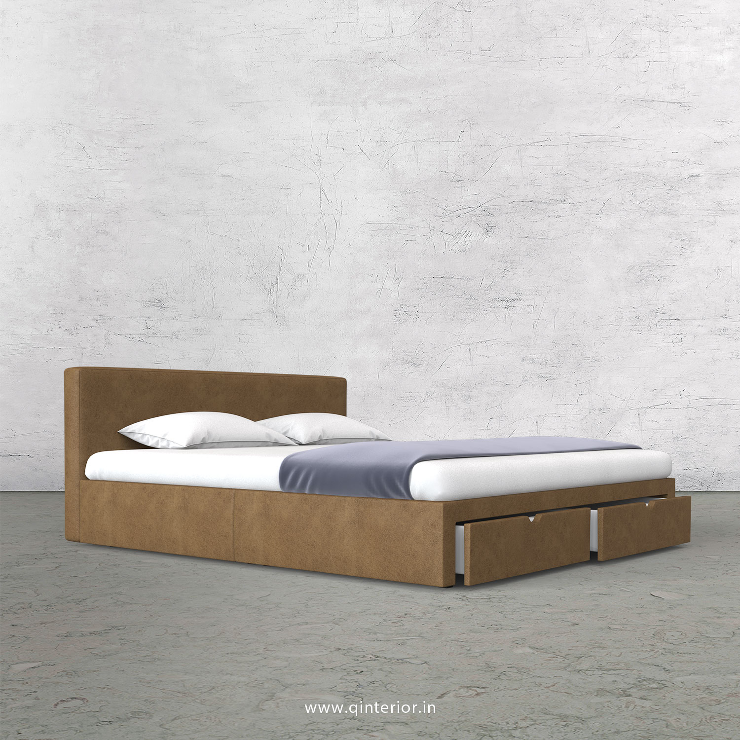 Nirvana King Size Storage Bed in Fab Leather Fabric - KBD001 FL02