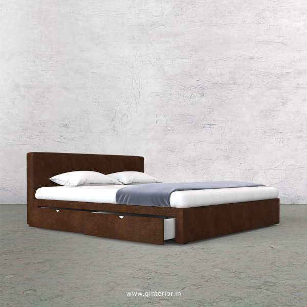 Nirvana King Size Storage Bed in Fab Leather Fabric - KBD007 FL09