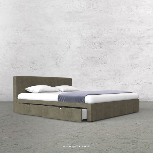 Nirvana King Size Storage Bed in Fab Leather Fabric - KBD007 FL03