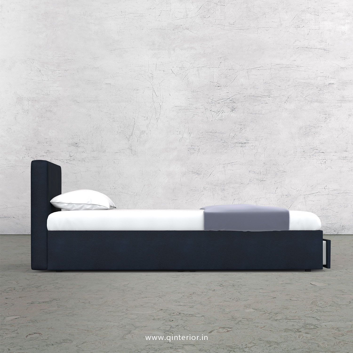 Nirvana Queen Storage Bed in Fab Leather Fabric - QBD001 FL05