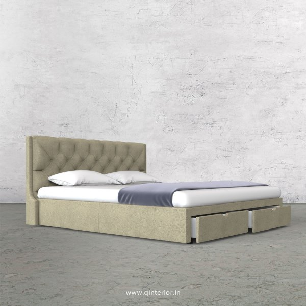 Scorpius King Size Storage Bed in Fab Leather Fabric - KBD001 FL10