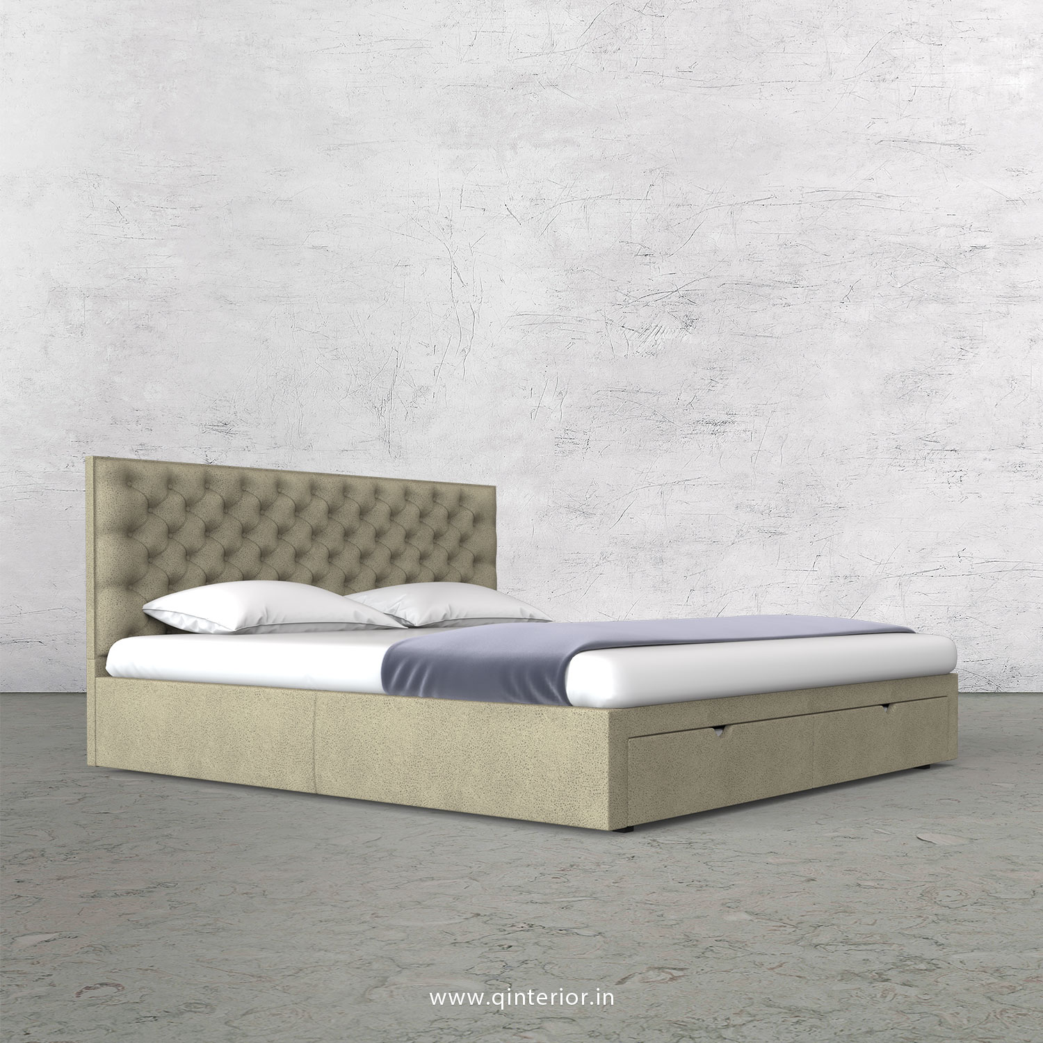 Orion King Size Storage Bed in Fab Leather Fabric - KBD001 FL10