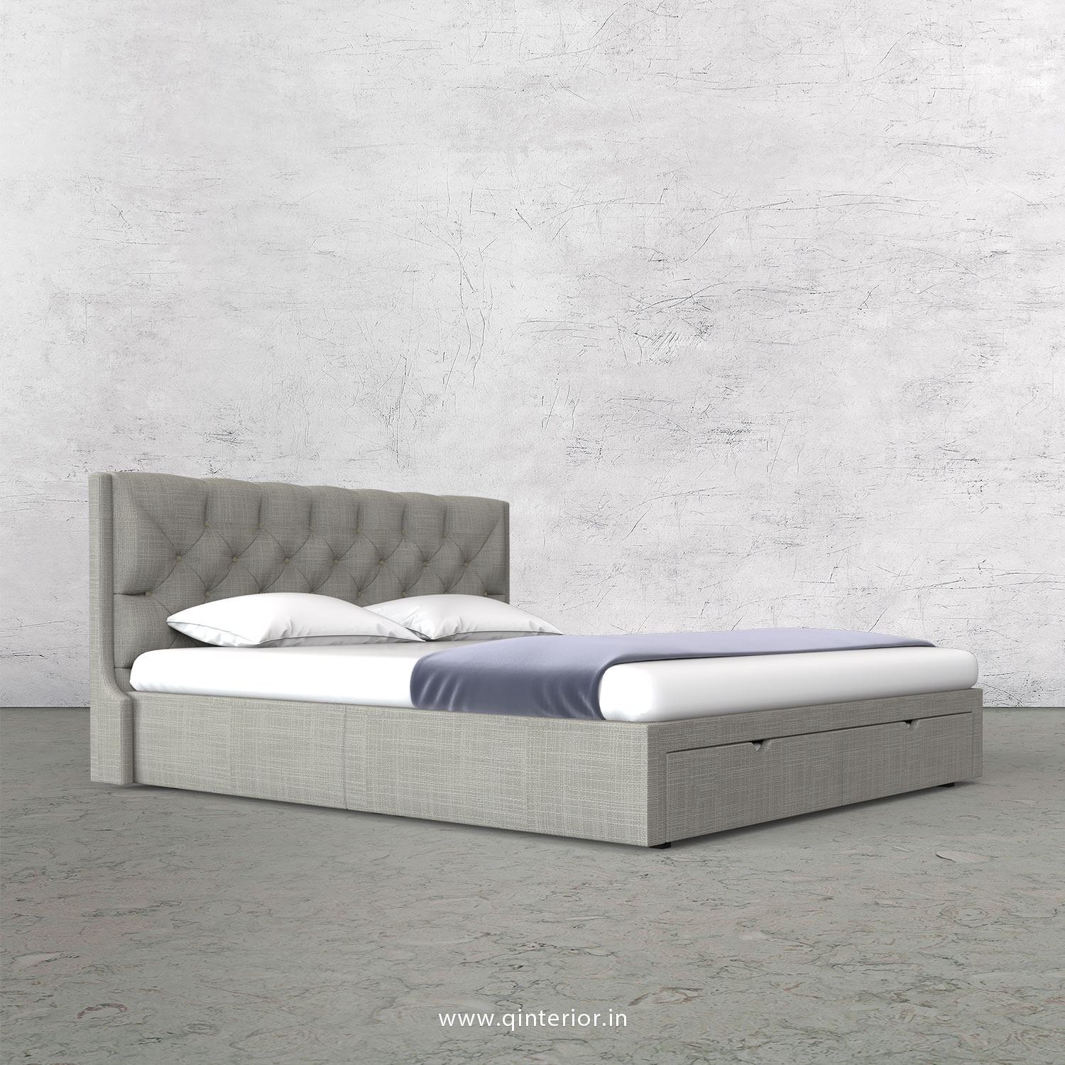 Scorpius King Size Storage Bed in Cotton Plain - KBD001 CP04
