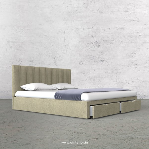 Leo King Size Storage Bed in Fab Leather Fabric - KBD001 FL10