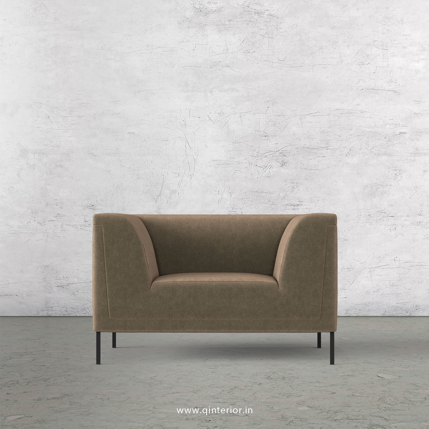 LUXURA 1 Seater Sofa in Velvet Fabric - SFA017 VL03