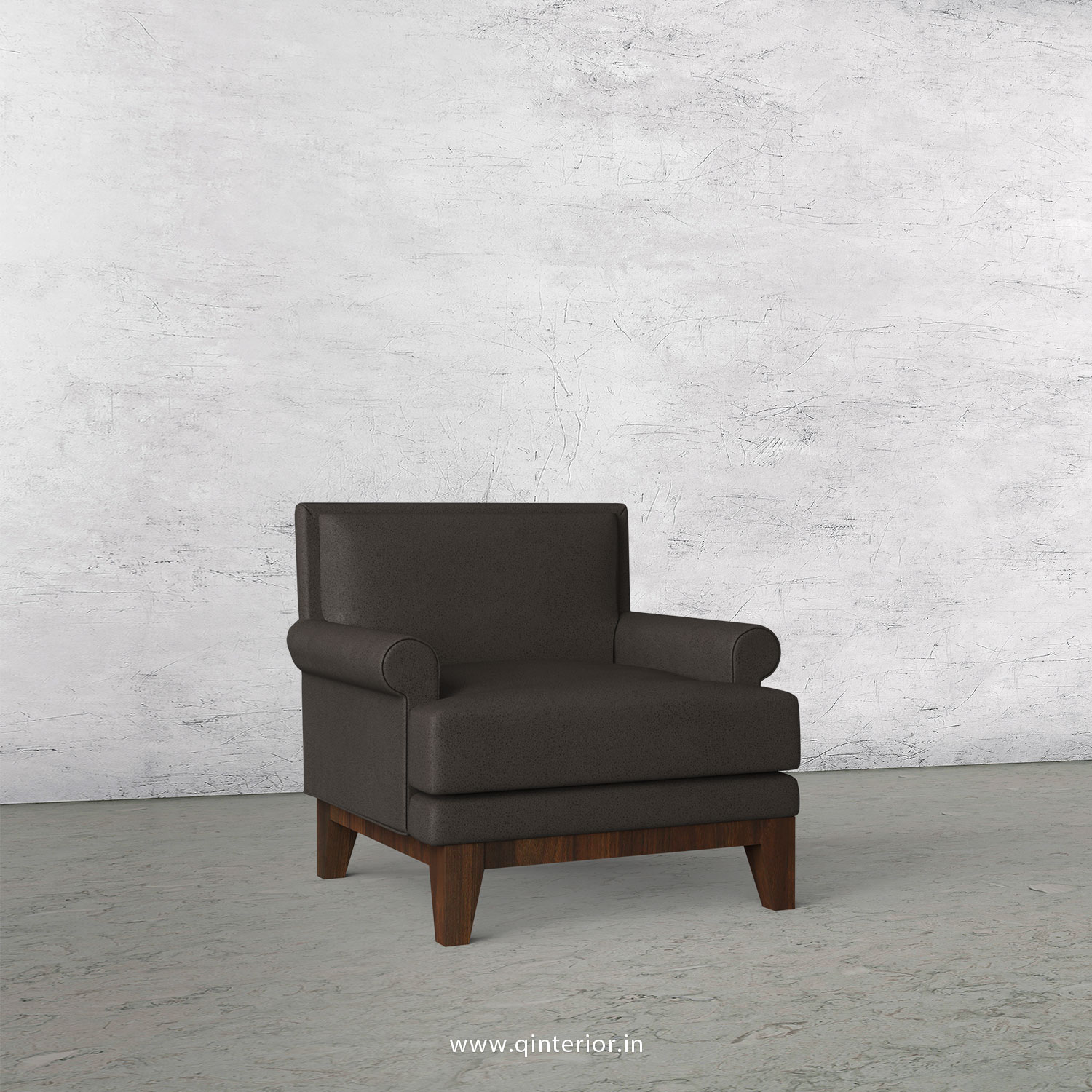 Aviana 1 Seater Sofa in Fab Leather Fabric - SFA001 FL15