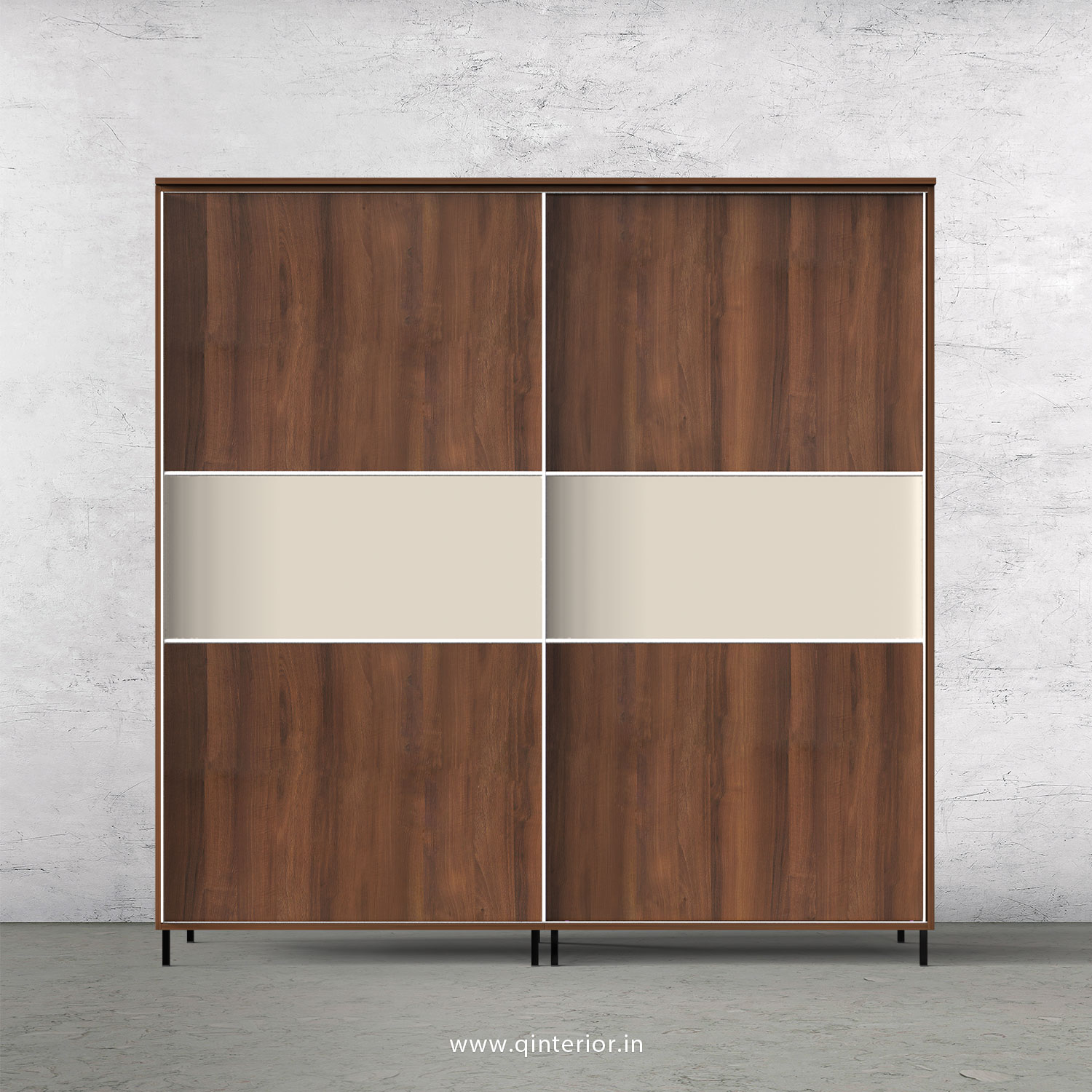 Lambent Sliding Door Wardrobe in Teak and Creamic - SLD001